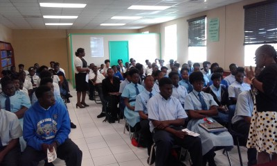 NDP presents to Anatol Rodgers High School